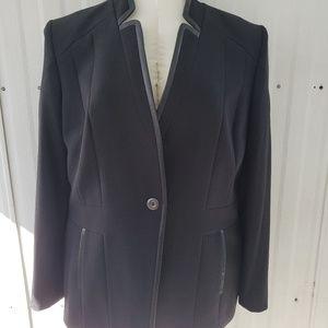 Preston & York Black Blazer with Leather Trim Sz18